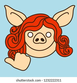 emoji with smiling redhead pig woman character that is pointing left with her right hand's thumb, simplistic colorful picture, simple handdrawn illustration, vector art with pig-like characters