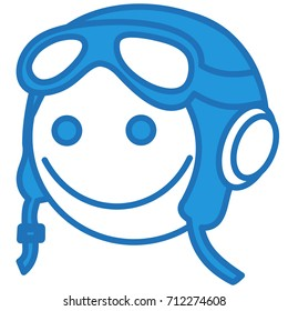 emoji with smiling retro airplane pilot in a vintage flying helmet with headphones and glasses or aviator goggles, simple hand drawn emoticon, eps 10 vector illustration