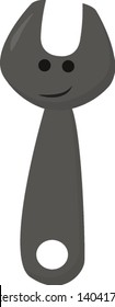 Emoji of the smiling wrench or spanner used to provide grip in applying torque to turn objects like nuts and bolts, vector, color drawing or illustration.