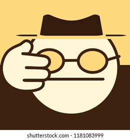 emoji with spy or blind man that covers his face, secret agent in retro felt hat on sepia colored photo, simplistic colorful pictogram, ball like personage with thick outlines, primitive vector art