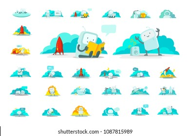 Emoji sticker big set character Icon. Cute man human spacesuit spaceman Different situations. 404 error not found. Search, mail running and others. Collection illustration.