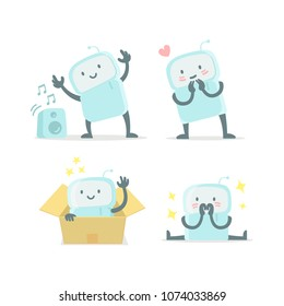 Emoji sticker set Icon. Baby robot toy cute small new robot surprised and shy. Very cute for child toy. Flat color vector illustration