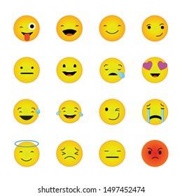 Emoji stickers showing various emotional symbols - vector illustration showing various emotional symbols