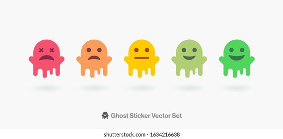 Emoji Stickers Vector Set. Customer Satisfaction Emotes from Sad To happy Ghost Characters Face. Funny Cartoon Emoji Stickers Illustration Set for Social Network or Chat.