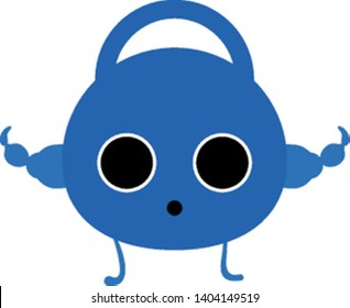 Emoji of the strong and might dumbbell with clenched fists has two eyes and mouth wide opened is standing, vector, color drawing or illustration.