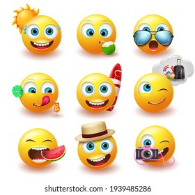 Emoji summer emoticon vector set. Emojis yellow icon with facial expression and beach element for tropical season character emoticons collection design. Vector illustration