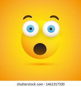 Emoji with Surprised Face, Open Mouth and Eyes - Simple Emoticon on Yellow Background - Vector Design Illustration