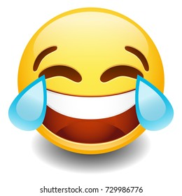 Emoji Tear Laugh. Smiley Face Vector. Design Art. Communication Elements Chat. Emote Symbol.