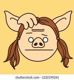 emoji with thoughtful pig woman that scratches her head, simple hand drawn emoticon, simplistic colorful picture, vector art with pig-like characters