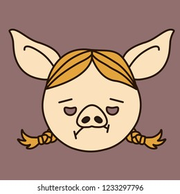 emoji with tired blonde pig gal with pigtails & sad expression on her face, simple hand drawn emoticon, simplistic colorful picture, vector art with pig-like characters