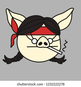 emoji with tough pig woman in bandana that is smoking a cigarette & living her life like a thug, simple hand drawn emoticon, simplistic colorful picture, vector art with pig-like characters