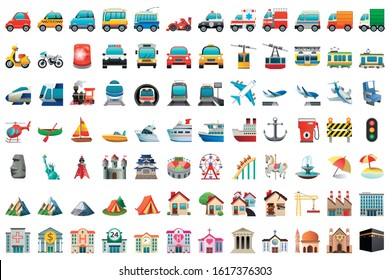 emoji of transport and buildings and nature set pack icons