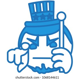 emoji with Uncle Sam pointing finger at you, usa mascot wants you for US army, american government or president personification in striped tophat with stars holding a cane, simple hand drawn emoticon