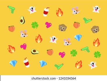 Emoji vector pattern set of different emojis