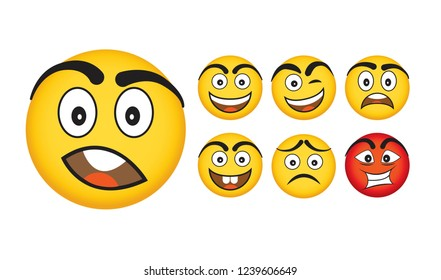 Emoji Vector Set Collection in Modern Style, Isolated. Vector illustration.