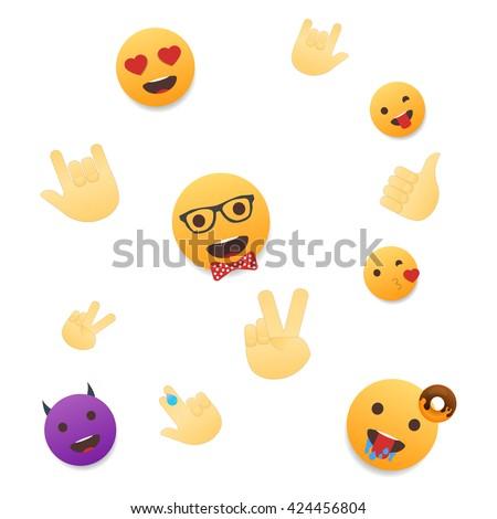 Emoji Wallpaper Emoticons Seamless Pattern Emoji Faces And Emoji Hand Icons On White Background