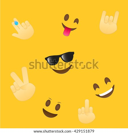 Emoji wallpaper. Emoticons seamless pattern. Emoji faces and emoji hand icons on white background