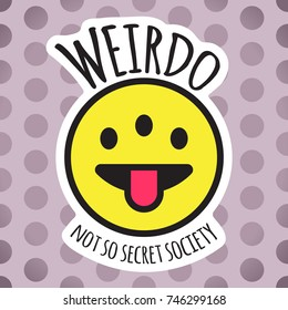 Emoji weird three eyed funny face. Weirdo smile, sticker or patch design vector illustration.