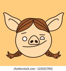 emoji with winking pig woman's face with screwed up left eye and a friendly smiling facial expression with raised lip & lowered left eyebrow, simple hand drawn emoticon, simplistic colorful picture