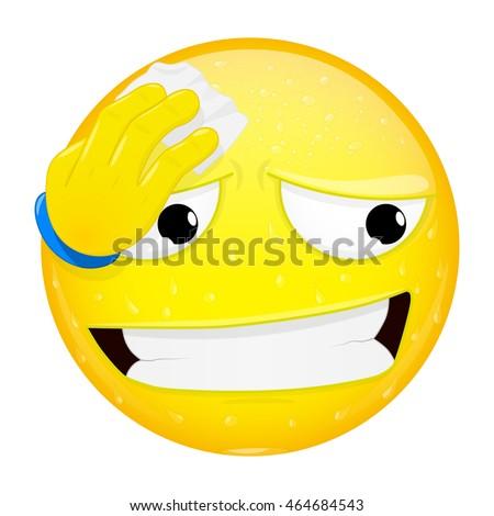 Emoji Wipes Sweat Handkerchief Hard Work Stock Vector Royalty Free
