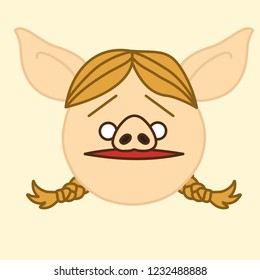 emoji with worried blonde pig woman with pigtails who is feeling confused & shocked, simple hand drawn emoticon, simplistic colorful picture, vector art with pig-like characters