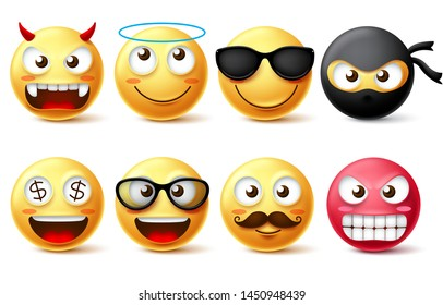 Emojis and emoticon vector character set. Smiling face yellow emoji like demon, angel, ninja, bearded face and wearing sunglasses isolated in white background. Vector illustration.