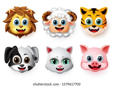 Emojis and emoticons animal happy face vector set. Animal emoji face of lion, lamb, tiger, dog, cat and pig character creature in smiling expressions isolated in white background. Vector illustration.