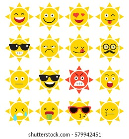 emojis. sun. sunlight. summer. Set of emotional  face on a white background. Flat vector emoticons. Set vector smiley. Characters smiley