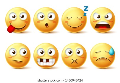 Emojis vector set with funny facial expressions.Emoticon face cute emoticons with sleepy, toothless, angry and naughty facial expressions isolated in white background for design elements.
