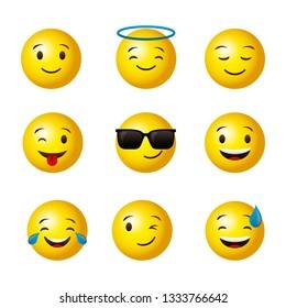 Emojis yellow round face set cartoons vector digital illustration image