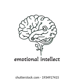 Emothion intellect logo. Human brain schematic sketch with flowers and leaves.  Art work outline. Vector illustration on white background