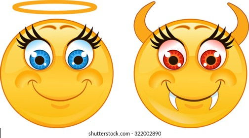 5671ede908b Emoticon angel and devil smiley