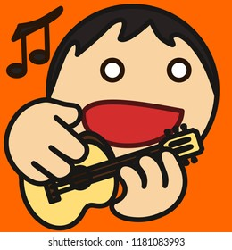 emoticon with an artist that is performing on stage by playing guitar and singing to the music, circle shaped vector emoji in color, simplistic colorful pictogram, funny cartoon character from a set
