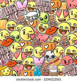 Emoticon background, emoji stickers smiley faces pattern, vector illustration.