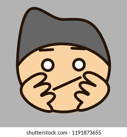 emoticon with bored character that is wearing a knitted hat propping up his head with palms & waiting for his turn in queue or just slacking & has nothing to do, circle shaped vector emoji in color