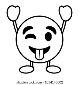 emoticon cartoon face tongue out character