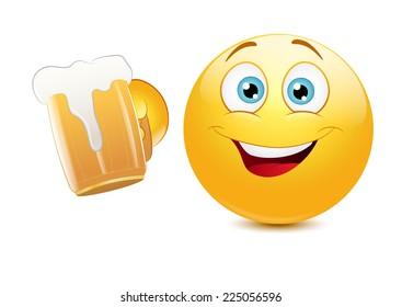 Emoticon cheering with a mug of beer