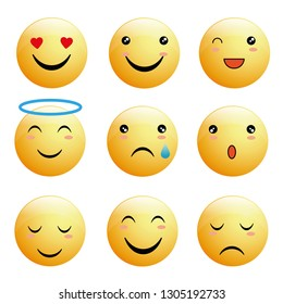 Emoticon collection with positive reactions for social network. Flat design style.