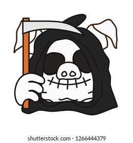 emoticon or emoji of angel of death in hood with a scithe, smiling grim reaper fat pig, laughing skull with empty eyes & stitched mouth, well-fed piggy drawing, pork personage with thin outlines