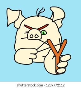 emoticon or emoji of angry kid fat pig hooligan that is shooting small stones & aiming with the slingshot with one eye closed, wicked & bad boy misbehaving, well-fed piggy drawing