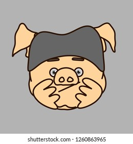 emoticon or emoji of bored fat pig character that is wearing a knitted hat propping up his head with palms & waiting for his turn in queue or just slacking & has nothing to do, well-fed piggy drawing