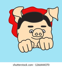 emoticon or emoji of classic super hero character fat pig flying with waving cape, curly superhero man fly in the air by pushing fists forward & using his superpower, well-fed piggy drawing