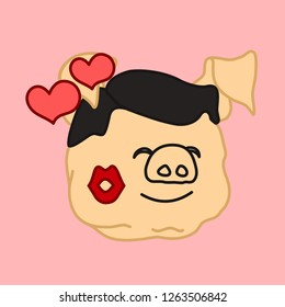 emoticon or emoji of fat pig guy that is enjoing a lipstick trace left from a kiss with hearts flying around, well-fed piggy drawing, pork personage with thin outlines, funny porky cartoon character