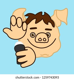 emoticon or emoji of fat pig man that is applying antiperspirant to armpits or underarms to eliminate his scent or bad smell & stop sweating & perspiration, deodorant or body spray usage
