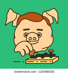 emoticon, emoji of fat pig man telegrapher operating vintage electro mechanical broadcaster to send telegram,radio telegraph operator sending morse code encoded text message w. retro transmitter devic