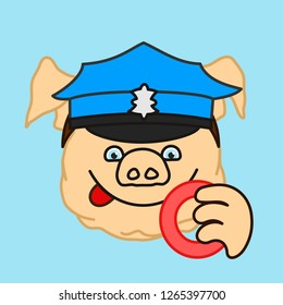emoticon or emoji of fat pig police officer or policeman that is wearing a green uniform peaked cap smacking his lips before eating a donut, well-fed piggy drawing, pork personage with thin outlines
