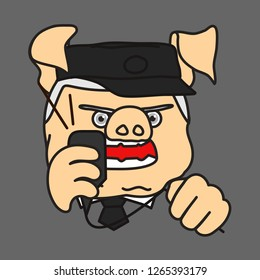 emoticon or emoji of fat pig security officer, surveillance watchman, train station dispatcher or traffic controller in uniform with cap & tie shouting into loudspeaker mic & squeezing cord in anger