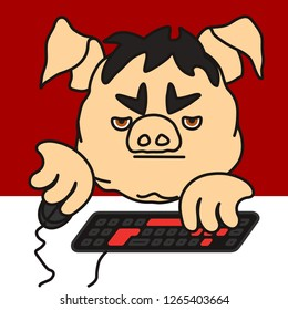 emoticon or emoji of grumpy pc gamer fat pig plays a personal computer game using mouse & keyboard, bored boy addicted to gaming grinds something in mmorpg virtual world for hours sitting on chair