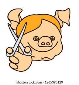 emoticon or emoji of hairdresser or haircutter fat pig boy that is holding scissors in his hand, happy barber man or coiffeur with pigtails at work, well-fed piggy drawing, eps 10 vector clip art