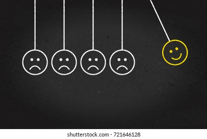 Emoticon or emoji, happy and sad chalk face drawing on blackboard in vector illustration in form de newtons cradie.